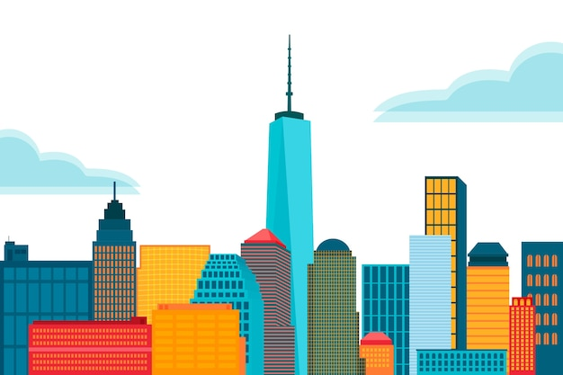 Skyline colorful landmarks