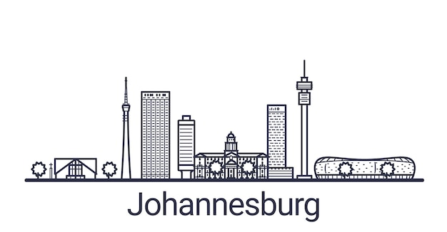 Skyline of johannesburg city in linear style. johannesburg cityscape line art.