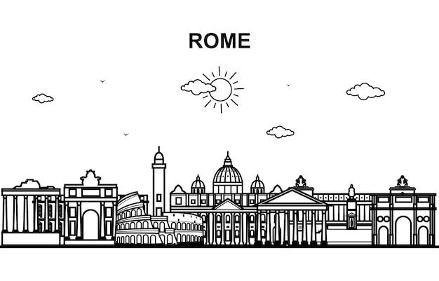 Рим сити тур городской пейзаж skyline line outline