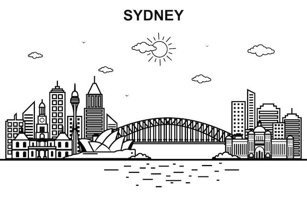 Сидней-сити австралия городской пейзаж skyline line outline
