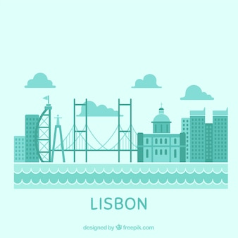 Skyline of lisbon in blue tones