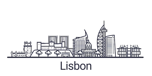 Skyline of lisbon city in linear style. lisbon cityscape line art. all buildings separated with clipping masks. so you can change composition and background.