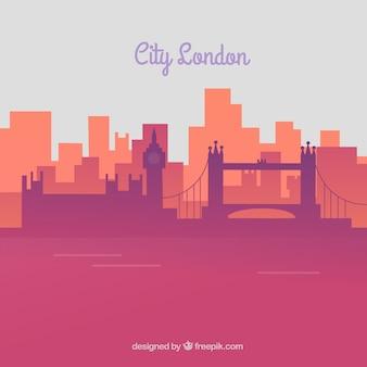 Skyline of london in pink tones