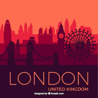Skyline of london in red tones