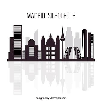 Skyline di madrid in design piatto