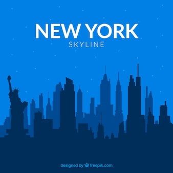 Skyline of new york in blue tones