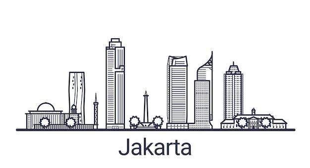 線形スタイルのジャカルタ市のスカイライン。ジャカルタの街並みの線画。