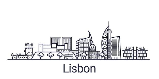 Горизонт города лиссабона в линейном стиле. лиссабонский городской пейзаж линии искусства. все здания разделены обтравочными масками. таким образом, вы можете изменить композицию и фон.