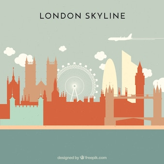 Skyline of london в плоском стиле