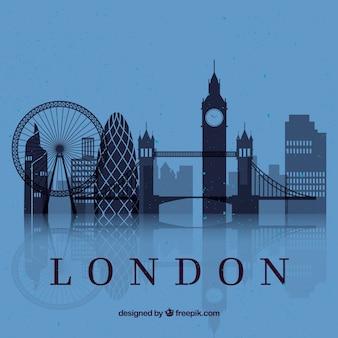 ロンドン、スカイライン、青、背景