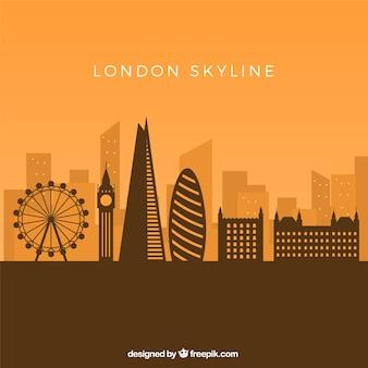黄色の背景にロンドンのスカイライン