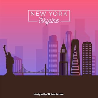 보라색 톤에서 뉴욕의 스카이 라인