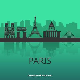 緑の背景にパリのスカイライン