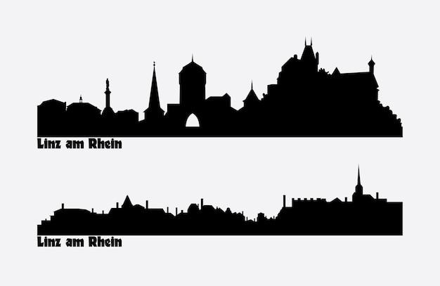 독일, linz am rhein의 두 도시 전망의 스카이 라인.