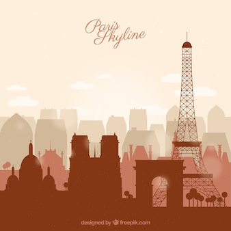 Skyline of paris in flat style