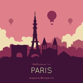 Skyline of paris in purple tones