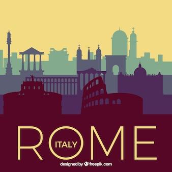 Skyline of rome in blue tones