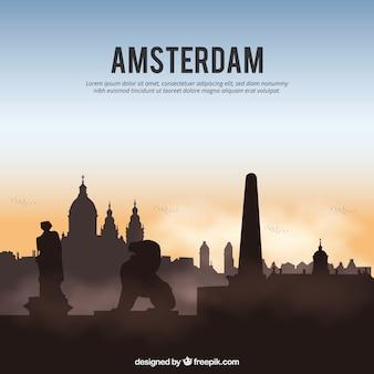 Skyline silhouette of amsterdam city