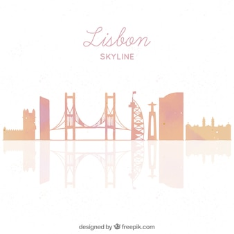 Skyline silhouette of lisbon city