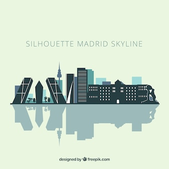 Skyline silhouette of madrid