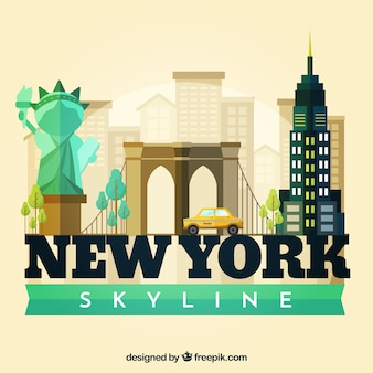 Skyline silhouette of new york city in flat style