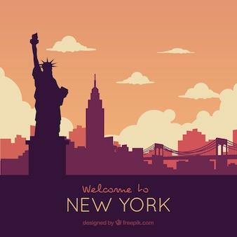 Siluetta dell'orizzonte di new york city