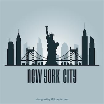 Skyline silhouette of new york city