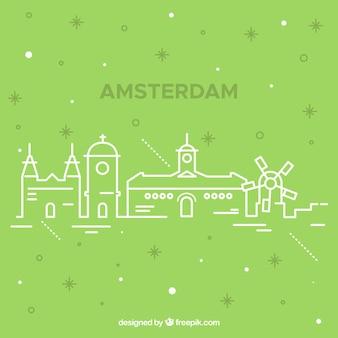 モノクロームのアムステルダムの街のスカイラインのシルエット