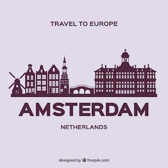 アムステルダム市のスカイラインのシルエット