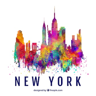 Skyline silhouette of new york city with colors