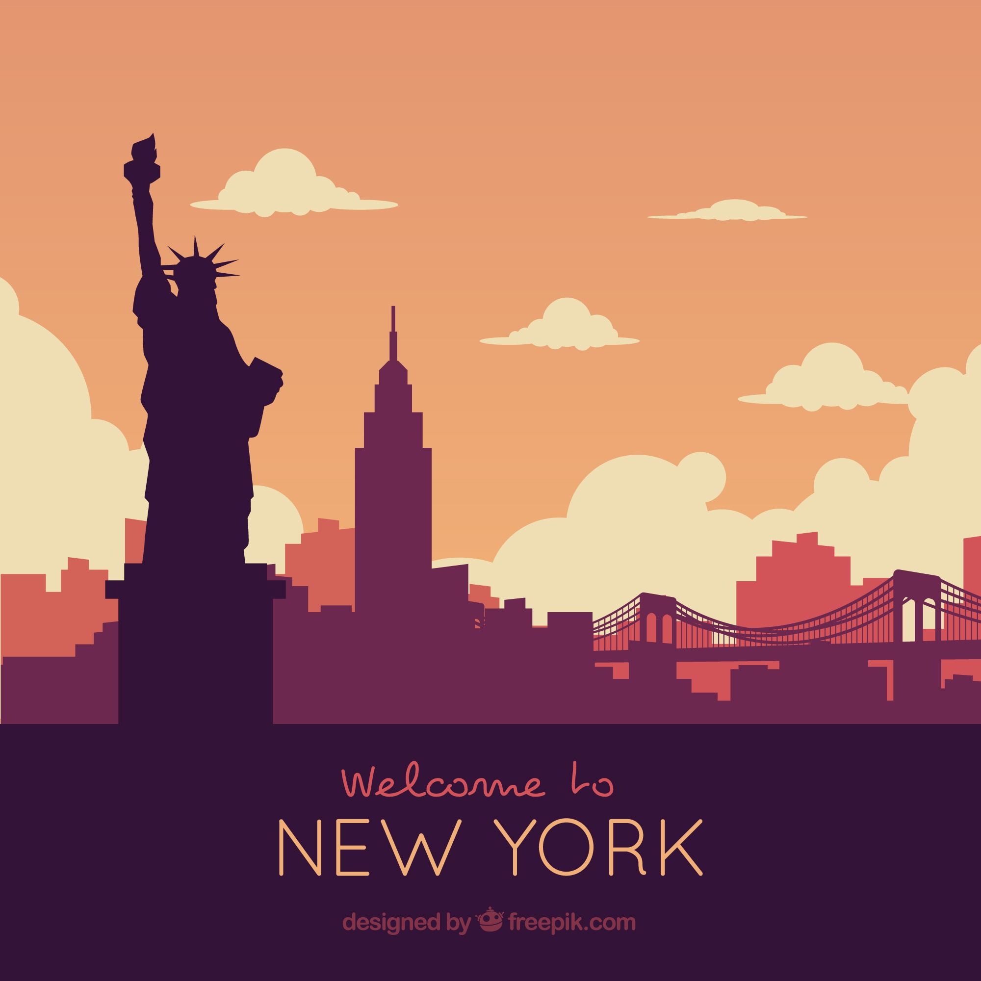 Skyline silhouette of new york city