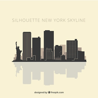 Skyline silhouette of new york