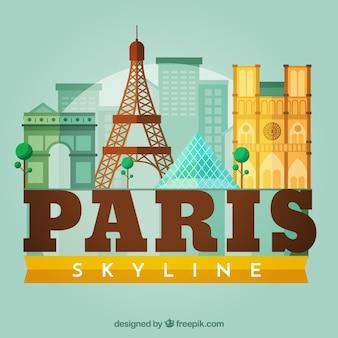 Skyline силуэт города парижа в плоском стиле