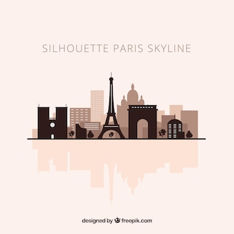 Skyline silhouette of paris