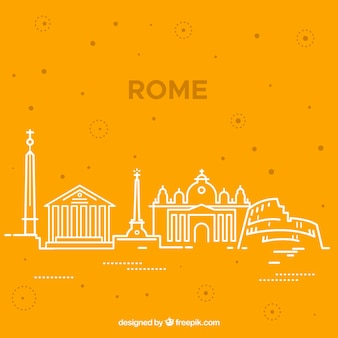 モノクロームのローマの街のスカイラインのシルエット
