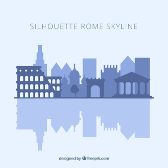Skyline silhouette of rome