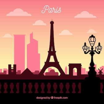 Skyline silhouette of paris city