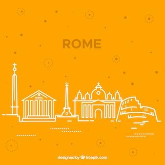 Skyline silhouette of rome city in monoline