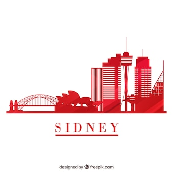 Skyline silhouette of sydney city