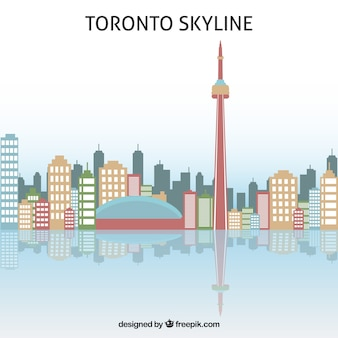 Skyline di toronto in design piatto