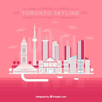Skyline of toronto on pink background