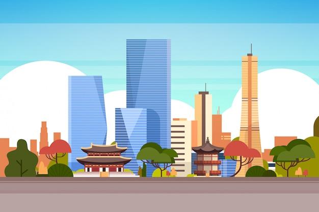 Skyline view с небоскребами и знаменитыми достопримечательностями