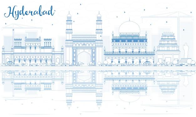 Наброски хайдарабад skyline с синими достопримечательностями и отражениями.