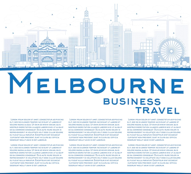 Контур мельбурна skyline с голубыми зданиями.