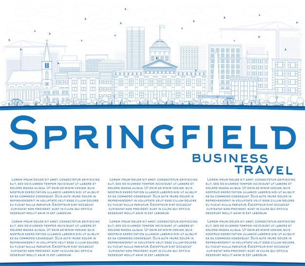 Наброски спрингфилд skyline с голубой зданий и копией пространства.