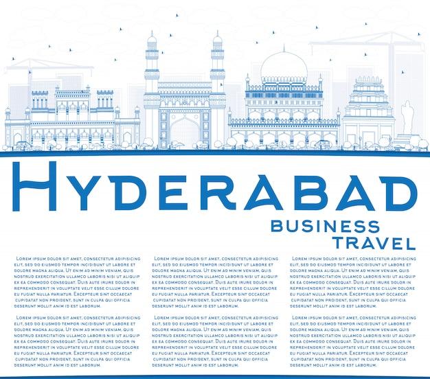 Контур хайдарабад skyline с синими достопримечательностями и копией пространства.
