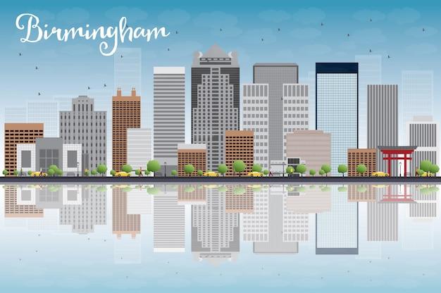 Бирмингем (алабама) skyline с серыми зданиями, голубое небо и отражения