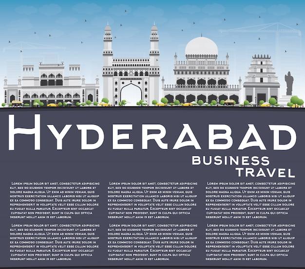 Хайдарабад skyline с серыми достопримечательностями, голубое небо и копией пространства.