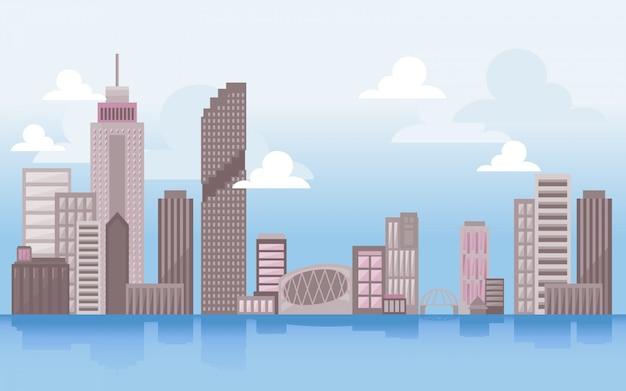 Иллюстрация skyline с городской пейзаж. городской пейзаж