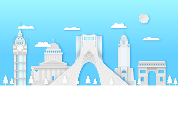 Достопримечательности skyline в бумажном стиле с голубым небом